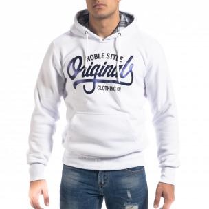 Hanorac hoodie de bărbați alb Originals