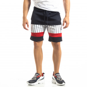 Pantaloni scurți de sport albaștri cu benzi pentru bărbați