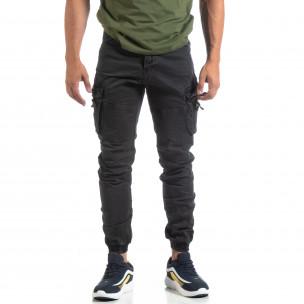 Pantaloni negri de bărbați cu buzunare cu fermoar 2