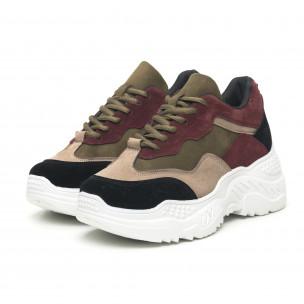 Pantofi sport de dama din velur cu părți colorate 2