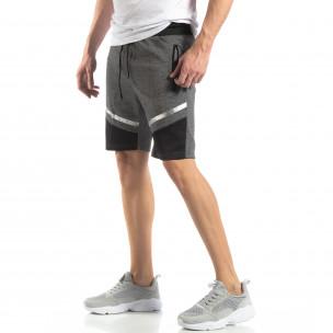 Pantaloni sport scurți gri cu accent argintiu pentru bărbați
