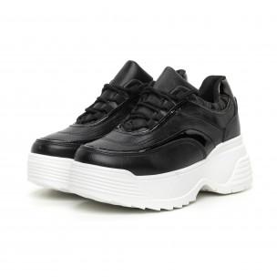 Pantofi sport de dama negri cu părți lăcuite 2