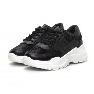 Pantofi sport Chunky de dama cu paiete negre 2