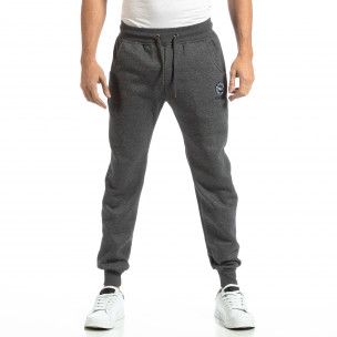 Pantaloni sport groși în melanj gri pentru bărbați  2