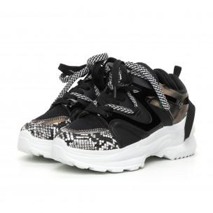 Pantofi sport de dama negri Chunky cu părți lăcuite 2