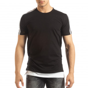 Tricou de bărbați negru cu margine albă  2
