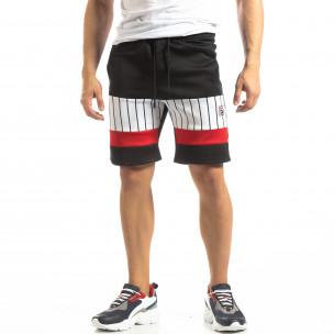 Pantaloni scurți de sport negri cu benzi pentru bărbați