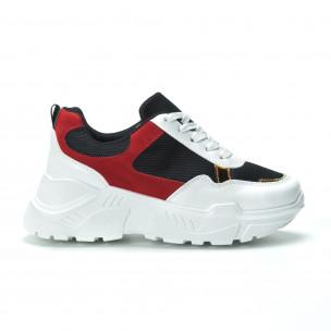 Pantofi sport pentru dama în alb-negru-roșu cu talpă groasă