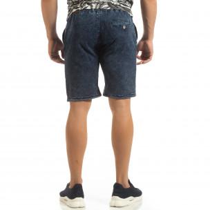 Pantaloni sport scurți pentru bărbați din tricot albastru 2