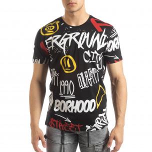 Tricou pentru bărbați negru cu graffiti
