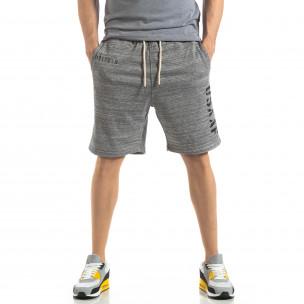 Pantaloni sport scurți de bărbați în melanj gri