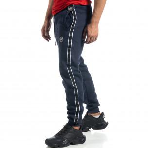 Pantaloni sport albaștri cu bandă pentru bărbați  2