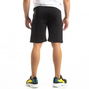 Pantaloni scurți sport negri de bărbați cu alb și roșu 2