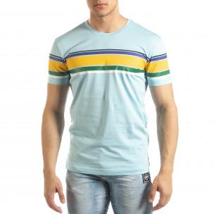 Tricou pentru bărbați albastru cu dungi colorate