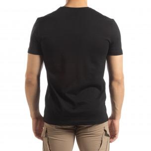 Tricou negru de bărbați cu imprimeu argintiu 2