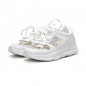 Pantofi sport de dama albi cu părți transparente 2