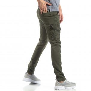 Pantaloni în verde tip cargo pentru bărbați 2