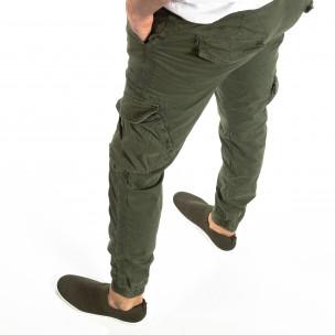 Jogger Cargo în verde militar pentru bărbați