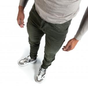 Blugi verzi de bărbați Slim fit cu rupturi