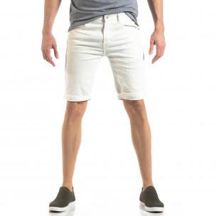 Bermude de blugi albi Basic pentru bărbați