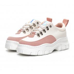 Pantofi sport de dama în alb și roz cu talpă groasă 2