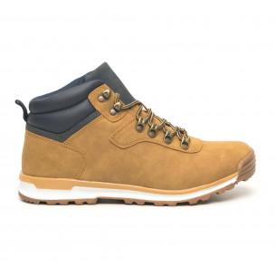 Pantofi de bărbați tip Hiker camel cu accent 2