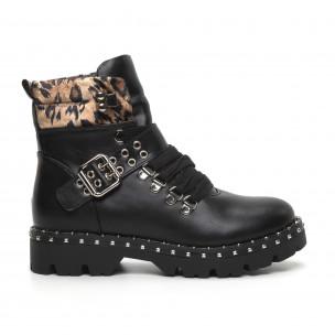 Botine de dama negre și leopard Trekking design