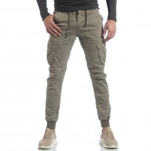 Pantaloni cargo Jogger în gri-bej pentru bărbați  2