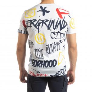 Tricou pentru bărbați alb cu graffiti 2