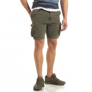 Pantaloni cargo scurți de bărbați Slim fit verde militar 2