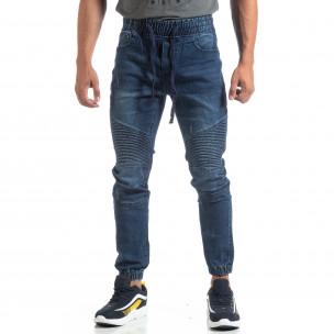 Jogger Jeans albaștri de bărbați stil rocker Leggendario