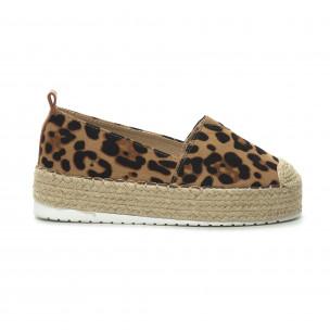 Espadrile de dama imprimeu leopard cu platformă