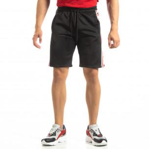 Pantaloni sport scurți negri de bărbați cu benzi și stele