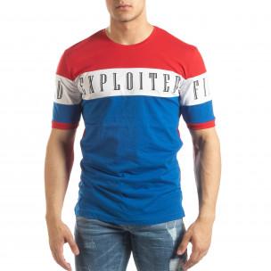 Tricou de bărbați în roșu, alb și albastru