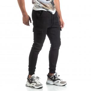 Jogger flaușat din tricot negru cu efect jacard