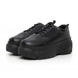 Pantofi sport de dama negri cu platformă 2