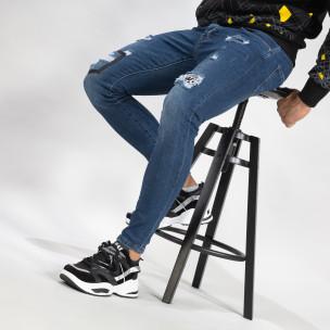 Blugi elastici de bărbați albaștri cu patch-uri 2