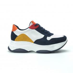 Pantofi sport de dama multicolori cu talpă înaltă  2