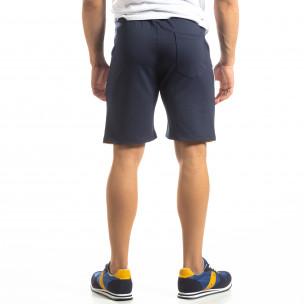Pantaloni scurți sport albaștri de bărbați cu alb și galben 2