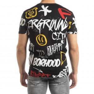Tricou pentru bărbați negru cu graffiti  2