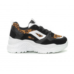 Pantofi sport de dama Chunky în negru și leopard