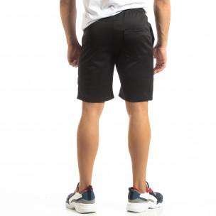 Pantaloni scurți de sport negri cu benzi pentru bărbați  2