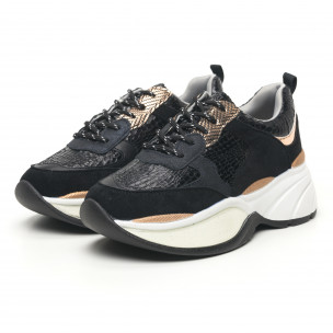 Pantofi sport voluminoși de dama șagrin în negru 2