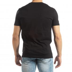 Tricou negru pentru bărbați cu aplicații din cauciuc 2