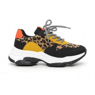 Pantofi sport de dama colorați motiv leopard