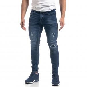 Blugi de bărbați albaștri cu patch-uri Slim fit  2