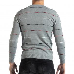 Pulover pentru bărbați gri cu dungi colorate  2