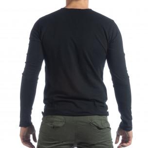 Bluză în negru V-neck pentru bărbați  2