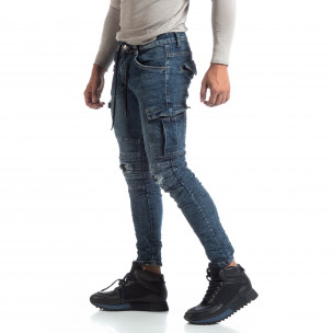 Cargo Jeans albaștri de bărbați stil rocker