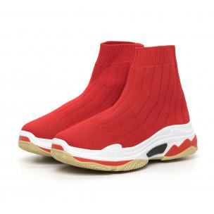 Pantofi sport de dama Slip-on din țesătură tehnică roșie 2